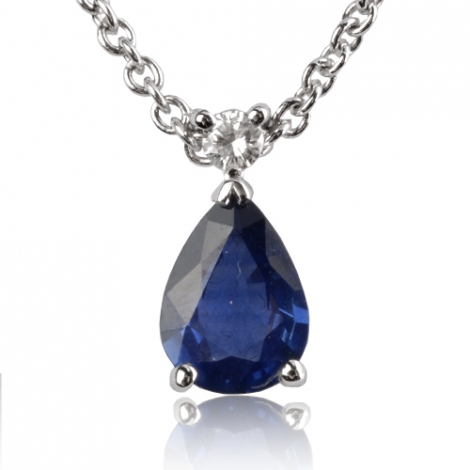 Collier saphir poire 0.90 ct serti d'un diamant 0.9ct - Éléannor-CL4315-0.9