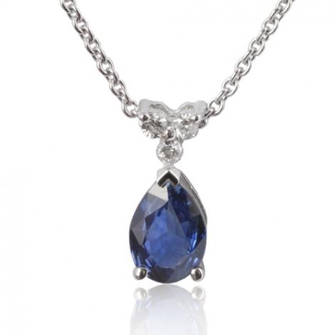 Collier saphir poire 0.90 ct serti de 3 diamants. 0.9ct - Léanne-CL4317-0.90