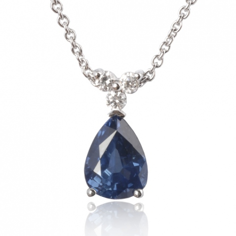 Collier saphir poire 1.20 ct serti de 3 diamants 0.09 ct 1.2ct - Estelle-CL4317-1.20