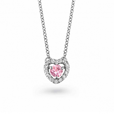 Collier Saphir rose diamant 0.10 ct One More Salina 048356XA