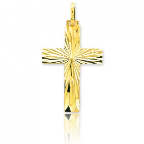 Croix finition ciselée Or Jaune Nina