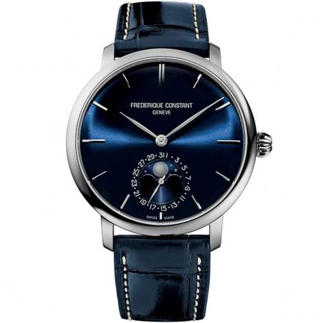 Frédérique Constant Slimline Moonphase Manufacture  Automatique Cadran Bleu Bracelet Cuir - FC-705N4S6