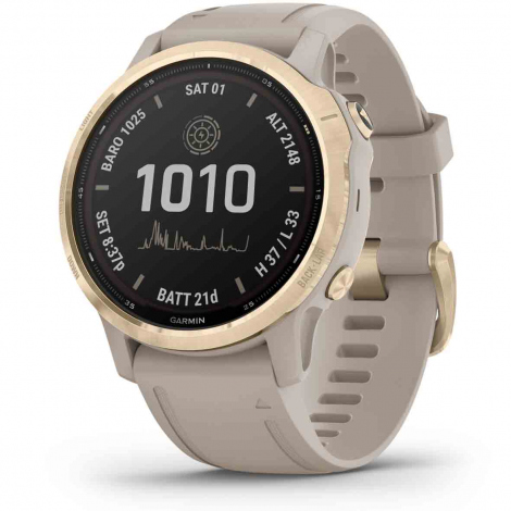 Garmin Fēnix 6 S Pro Solar - Light Gold brac. beige 42 mm- 010-02409-11