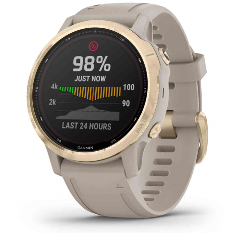 Garmin Fenix 6 S Pro Solar - Light Gold brac. beige