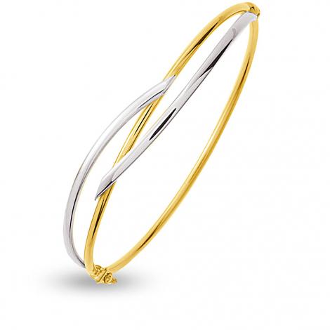 Jonc en Or jaune et or blanc 4.3g large de 2 mm Veronica - 642014