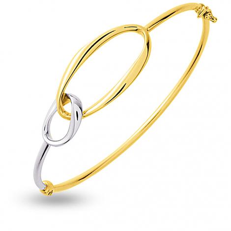 Jonc en Or jaune et or blanc 4.8g large de 2 mm Leya - 338.12G