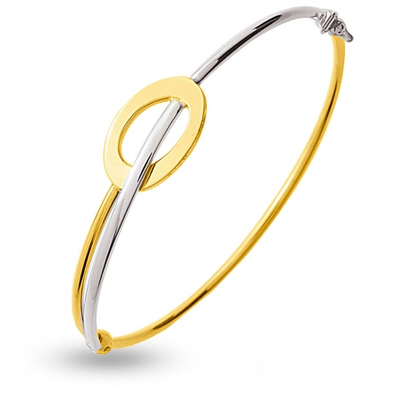 Jonc en Or jaune et or blanc 5.8g large de 2 mm Judith - 642015