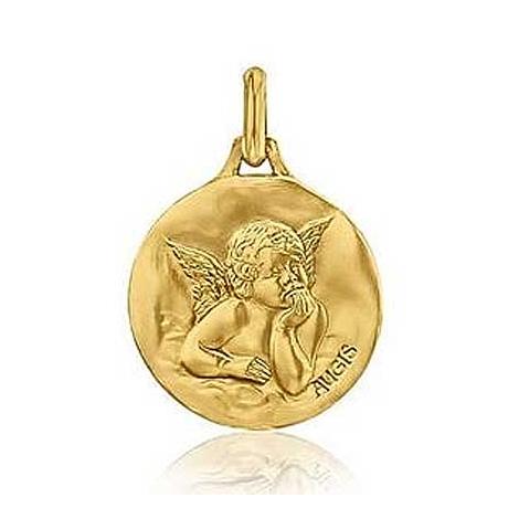 Médaille Ange de Raphaël Augis Patine Main Or Jaune 16 mm Emeline 3600021600