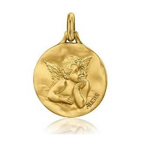 Médaille Ange de raphaël Augis patine main Or Jaune 18 mm Élizane 3600021500