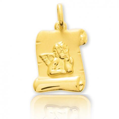Médaille Ange en forme de parchemin Or Jaune  Amandine - 660010