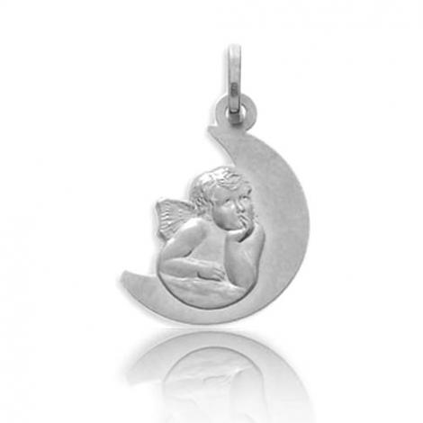 Médaille Ange en lune Or Blanc  Océane - 20749GR