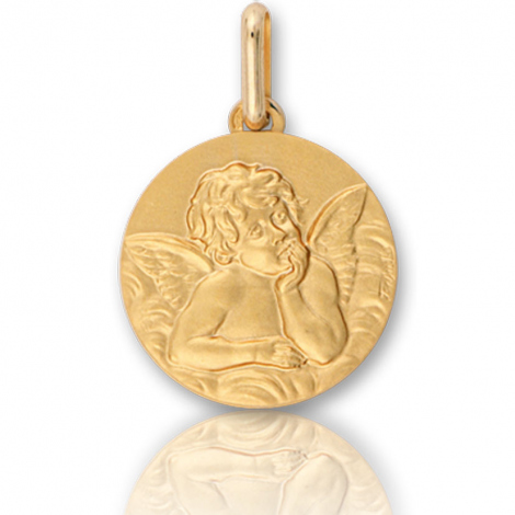 Médaille Ange Or Jaune 12 mm Chrystel - R1231