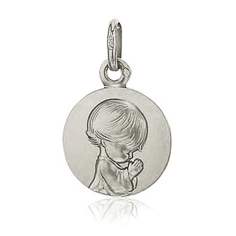 Médaille Ange Priant Augis Or Blanc 14 mm Margaux 5600009801
