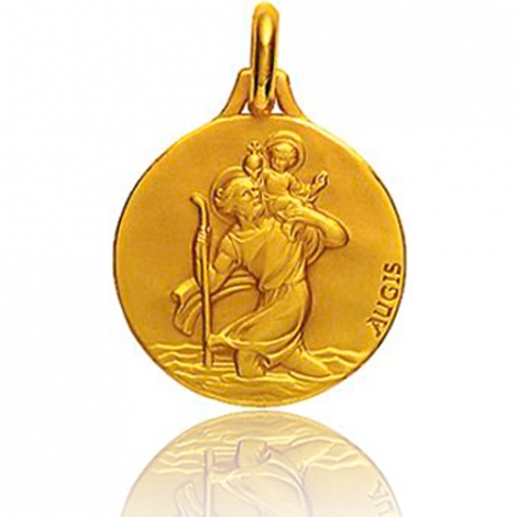 Médaille Saint Christophe Augis patine main 20 mmOr Jaune- 3500031700