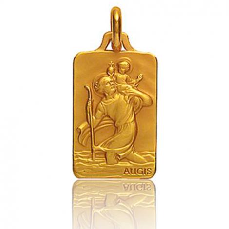 Médaille Saint Christophe Augis patine main Or Jaune- 3500032100