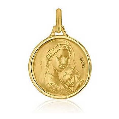 Médaille Vierge à l'Enfant Augis en Or Jaune 18 mm Ambre 3500028800
