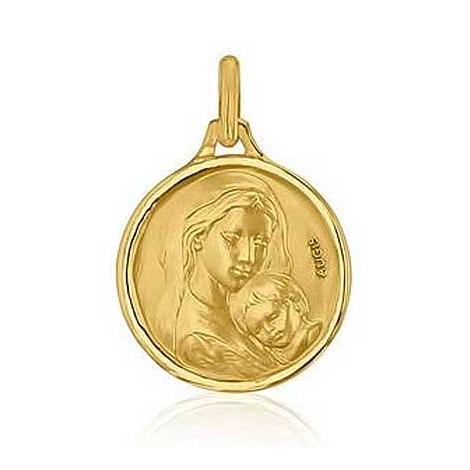 Médaille Vierge à l'Enfant Augis Patine main en Or Jaune 16 mm Cecilia 3500028700