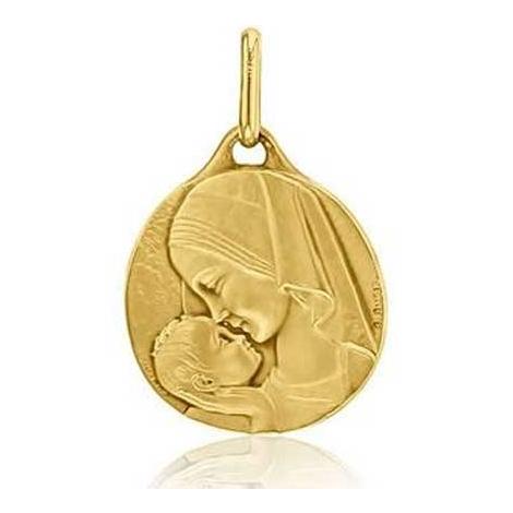 Médaille Vierge à l'Enfant Augis Patine main en Or Jaune 16 mm Krystale 3500038200