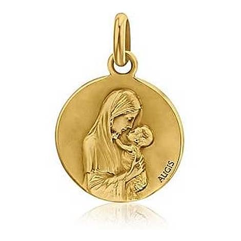 Médaille Vierge à l'Enfant Augis Patine main en Or Jaune 18 mm Rosemary 3500022200