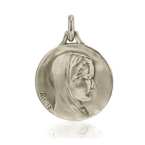 Médaille Vierge au voile Augis patine main en Or Blanc 18 mm lauraline 5500000300
