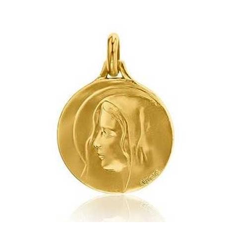 Médaille Vierge au voile Augis patine main en Or Jaune 16 mm Oxana 3500030800