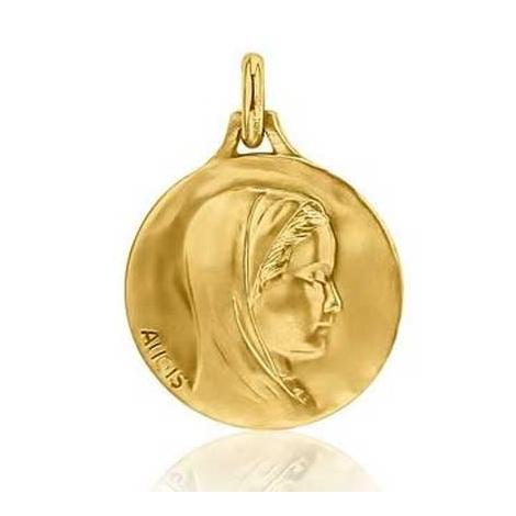 Médaille Vierge au voile Augis patine main en Or Jaune 18 mm Angélique J4931X0000
