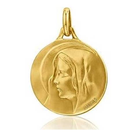 Médaille Vierge au voile Augis patine main en Or Jaune 20 mm Célia 3500031100