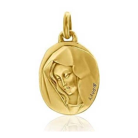 Médaille Vierge au voile Augis patine main en Or Jaune  Ophélie 3500037700