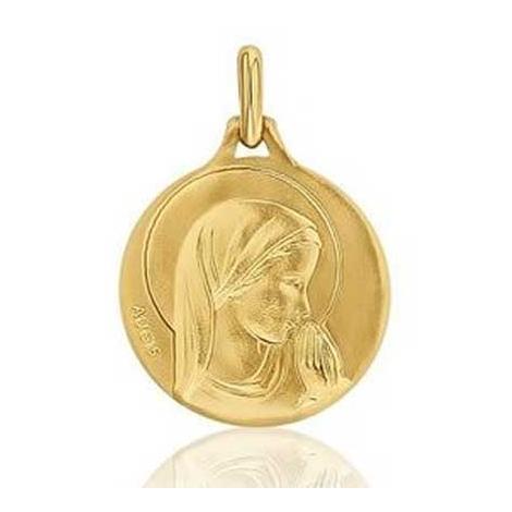 Médaille Vierge mains jointes Augis patine main en Or Jaune 18 mm Sandrine 3500029600
