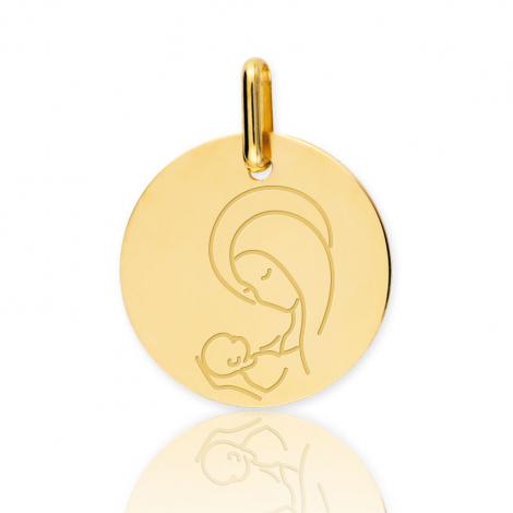Médaille vierge  Or Jaune 15 mm Isabelle