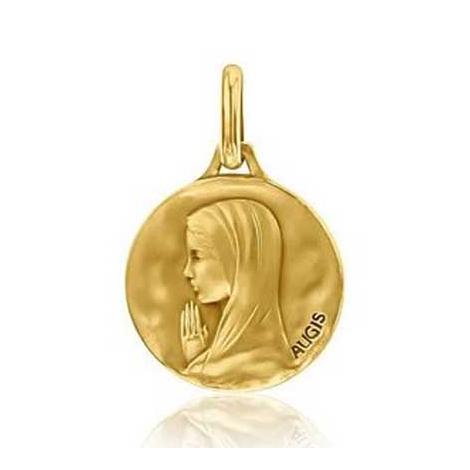 Médaille Vierge Priante Augis patine main en Or Jaune 14 mm Valentina 3500029900