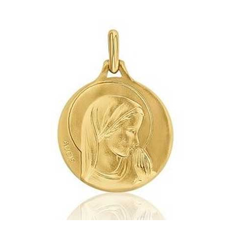 Médaille Vierge Priante Augis patine main en Or Jaune 16 mm Camila 3500029500