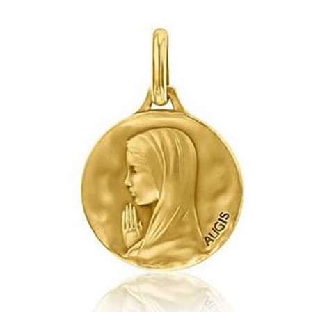 Médaille Vierge Priante Augis patine main en Or Jaune 16 mm Yuliana 3500029800
