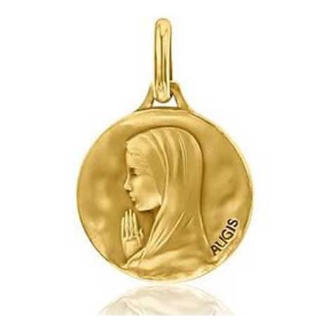 Médaille Vierge Priante Augis patine main en Or Jaune 18 mm Lara 3500029700