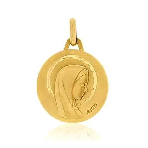 Médaille Vierge  profil Augis Polie en Or Jaune 16 mm Élizane 3500036000
