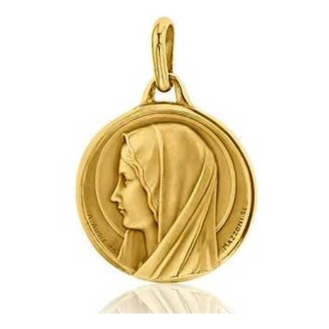 Médaille Vierge Santa Maria Augis patine main en Or Jaune 21 mm kelly 3500001900
