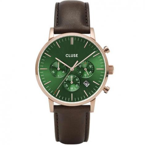 Montre Cluse Aravis chrono leather rose gold green/dark brown -  - CW0101502006