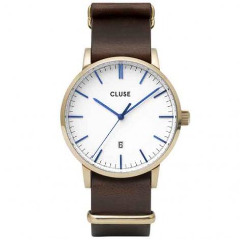 Montre Cluse Aravis nato leather gold white/dark brown -  - CW0101501007