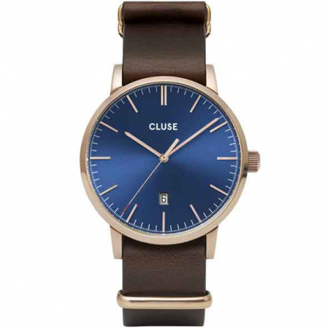 Montre Cluse Aravis nato leather rose gold dark blue/dark brown -  - CW0101501009