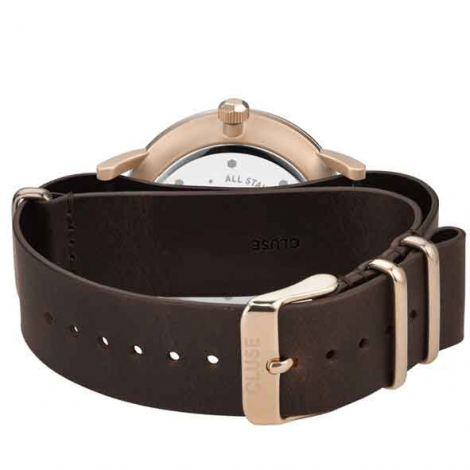 Montre Cluse Aravis nato leather rose gold dark blue/dark brown