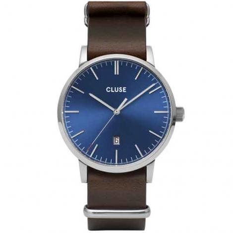Montre Cluse Aravis nato leather silver dark blue/dark brown -  - CW0101501008