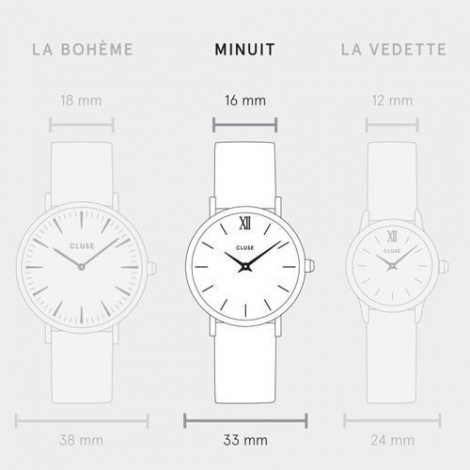Cluse Minuit Rose Gold White Hazelnut