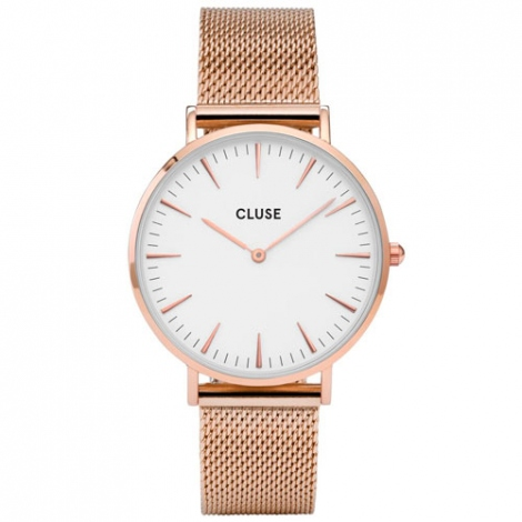 Montre Cluse La Bohème Mesh Rose Gold/White - 38 mm - CW0101201001