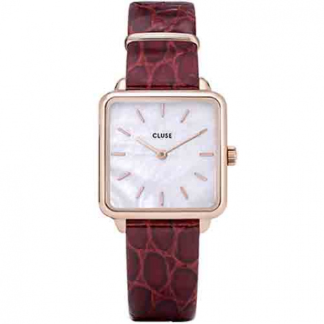 Montre Cluse La tétragone Leather Rose Gold White Pearl/Red Alligator - 28.5 mm - CW0101207029