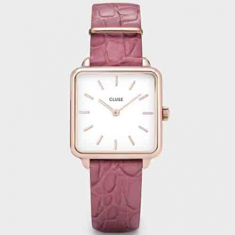 Montre Cluse La tétragone Rose Gold White / Soft Berry - 28.5 mm - CL60020
