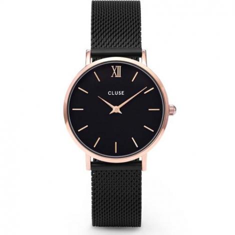 Montre Cluse Minuit Mesh GRose Gold Black / Black - 33 mm - CL30064