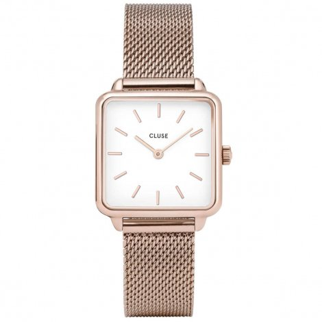 Montre Cluse Tétragone Rose Gold Mesh/White - 28.5 mm - CL60003