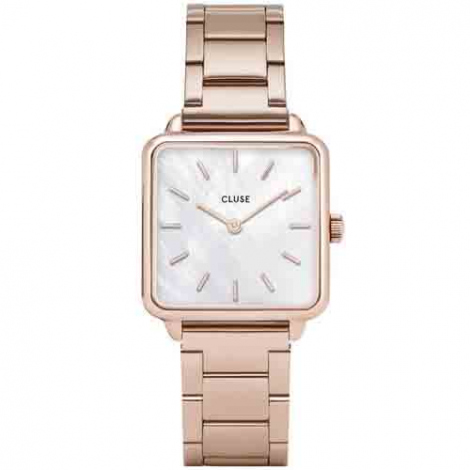 Montre Cluse Tétragone Three Link Rose Gold/White Pearl - 28.5 mm - CL60027S
