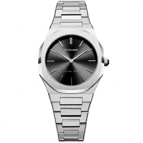 Montre D1 Milano Silver Night Ultra Thin 34 UTBL05- Femme  Quartz- cadran Noir- 40 mm - Acier inoxydable