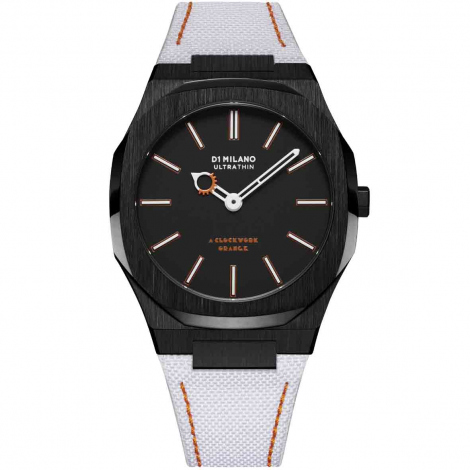Montre D1 Milano ultra thin 40 - a clockwork orange UTNJCW- Homme  Quartz- cadran Noir- 40 mm - Acier et PVD Noir